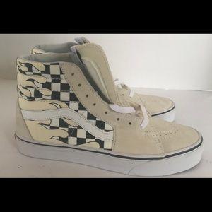 Vans High Top Flame Sneakers White/Black 7.5